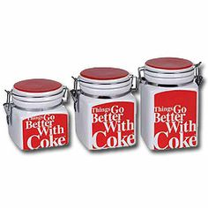 *COCA-COLA ~ Things Go Better Coca-Cola Canister Set - give her kitchen Coke refreshment with ceramic canister sets - on sale now! Ceramic Canister Set, Canister Sets, Coca Cola Addiction, Coca Cola Bottles, Pepsi Cola, Red Dinnerware, Coca Cola Decor, Coca Cola Kitchen, Always Coca Cola