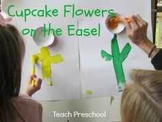 Cupcake flowers on the easel