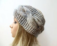 Brown Grey Cabled Headband - Women Hand Knit Braided Headband - Brown Grey Ear Warmer - Women Cabled  Knit Headband - Clickclackknits by Clickclackknits on Etsy