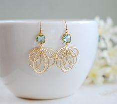 Feather Earrings, Blue Earrings, Dangle Earrings, Filigree Earrings, Filigree Jewelry, Diamond Earrings, Silver Jewelry, Feather Jewelry, Diamond Necklaces