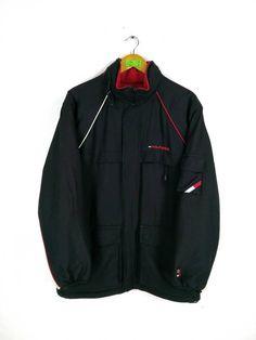 a2cb24a0f69333 TOMMY HILFIGER Bomber Jacket Medium Vintage 90s Tommy Colorblock Black Red  Tommy Jeans Bomber Hoodie Jacket Reversible Parka Size M