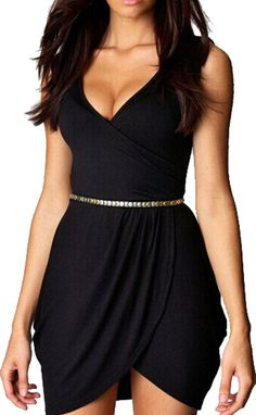 Freedi Black Women V Neck Solid Sexy Dresses for Night Out for Club