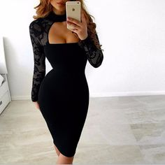 Long Sleeve Lace Body con Dress in Black and White