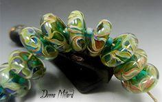 14 SRA Handmade Lampwork Glass Bead Set DONNA  MILLARD.