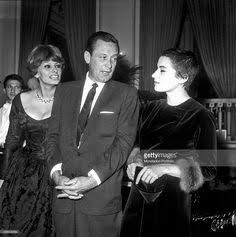 "Sophia Loren, William Holden and Silvana Mangano at a cocktail party. Silvana shaved her hair off for the 1960 Italian/American movie ""Five Branded Women."""