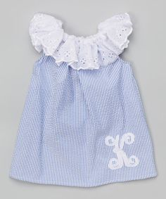 Love this Blue & White Eyelet Lace Personalized Dress - Infant & Toddler on #zulily! #zulilyfinds