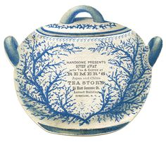 Antique Image - Blue China Tea Canister - 2 - The Graphics Fairy