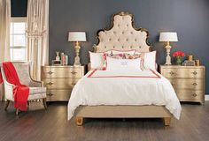 Drama Queen: Make over your bedroom into a chic French boutique hotel. Sanctuary Queen Bed, $1,799. Benjamin Moore Blue Note