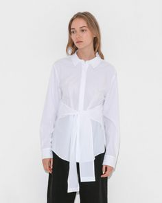 L/S Collared Tie Front Shirt by T By Alexander Wang