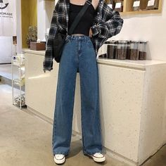 Mode Outfits, Retro Outfits, Cute Casual Outfits, Vintage Outfits, Casual Jeans, Vintage Pants, Korean Casual Outfits, Female Outfits, Vintage High Waisted Jeans