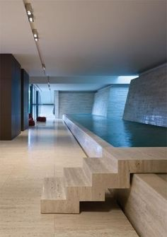 Great pool and architecture.:: INTERIORS :: Australian based Jolson Architecture Interiors Photography: Peter Bennetts, love the lighting detail and look at the amazing indoor pool - wow! Australian Interior Design, Interior Design Awards, Design Interiors, Interior Ideas, Spa Design, House Design, Deco Spa, Moderne Pools, Indoor Swimming Pools
