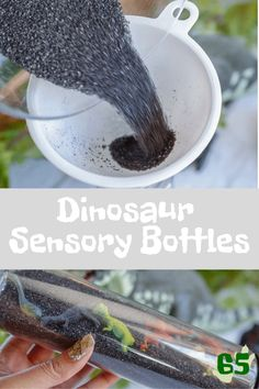See how easy it is to make these dinosaur sensory bottles for when your child ne… See how easy it is to make these dinosaur sensory bottles for when your child needs to calm down and relax. Dinosaur activities for kids Rainbow Sensory Bottles, Sensory Bottles Preschool, Glitter Sensory Bottles, Sensory Bags, Baby Sensory, Preschool Science, Sensory Play, Dinosaur Activities, Dinosaur Crafts