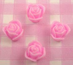 #Kawaii Pink Flowers Rosebuds #Cabochons Beads Kitsch #Decoden.