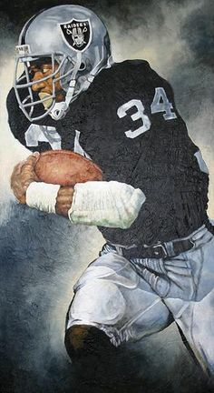 Bo Jackson, Oakland Raiders. Painting by Matthew Pelletier.