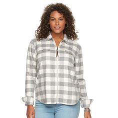 Plus Size Chaps Plaid Brushed Twill Shirt, Women's, Size: