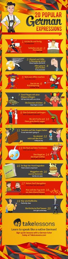 German Sayings Infographic. Translated with equivalents, not literal meanings.