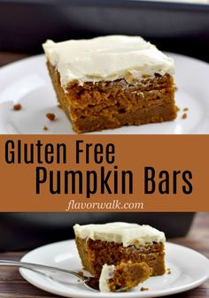 This recipe for Gluten Free Pumpkin Bars makes a delicious, flavor-packed dessert. The unadorned pumpkin bars are terrific on their own, but top them with cream cheese frosting and they're irresistible! use lactose free cream cheese. Gluten Free Pumpkin Bars, Gluten Free Bars, Gluten Free Deserts, Gluten Free Sweets, Gluten Free Baking, Dairy Free Recipes, Pumpkin Recipes, Foods With Gluten, Recipe For Gluten Free Desserts