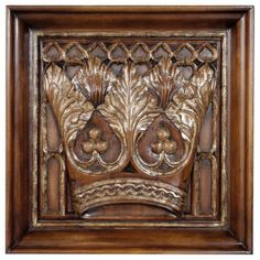Art | Reproduction Art | Wall Panels | Carved Wood Regal Crown Gothic Panel | www.inessa.com