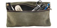 Zippered Waxed Canvas Pouch + manly necessities for travel