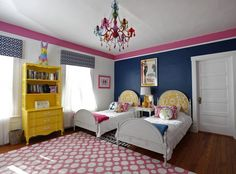 Kid's Room 2012 Contest winner - The Washington Post - coral instead of yellow, or instead of pink. could sub tiffany blue for pink or yellow.