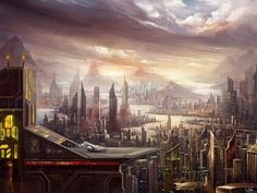 Sci-Fi Cities Off World | Sci-Fi City Wallpaper Illustration by Candice
