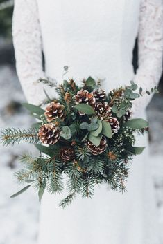 Pine cone wedding bouquet for winter wedding wedding winter Christmas Wedding Bouquets, Spring Wedding Bouquets, Red Bouquet Wedding, Winter Wedding Decorations, Winter Weddings, Romantic Weddings, Christmas Wedding Pictures, Rustic Wedding Bouquets, Church Weddings