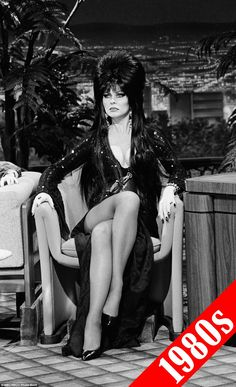 1980s: Elvira costumes inspired by the horror TV host Cassandra Peterson (pictured) also started popping up during this decade particularly after the release of the 1988 film Elvira, Mistress of the Dark Goth Beauty, Dark Beauty, Steam Punk, Elvira Costume, Elvira Movies, Pin Up, Actrices Sexy, Cassandra Peterson, Divas