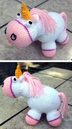 Free Knitting Pattern for Fluffy the Unicorn from Despicable Me - Inspired by Agnes' toy unicorn. It's so fluffy! Designed by Inga Breuer. Pictured project by alisonj