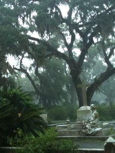 Bonaventure Cemetery during an afternoon rainstorm, Savannah