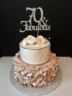 ANY NUMBER Gold Glitter 70th Birthday Cake by SugarPlumCreationsCo