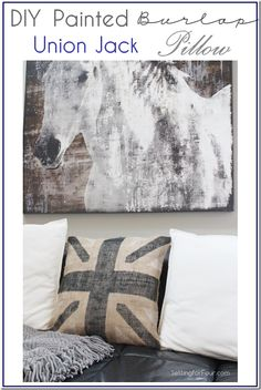 DIY Painted Burlap Union Jack Pillow Tutorial www.settingforfour.com