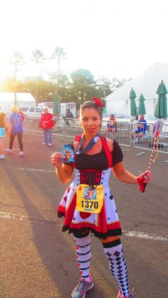 Walt Disney World (WDW) Marathon Weekend, Goofy Challenge, Family 5K Race and Medal.  Queen Of Hearts Running Costume