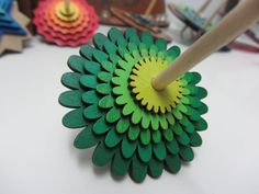 Green flower layered dreidle (spinning top) for Hannuka