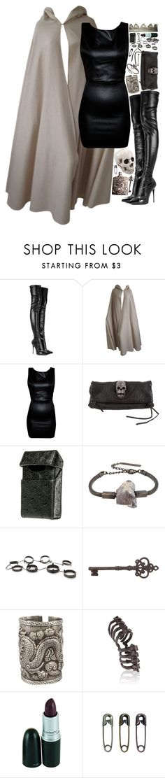 """""""Untitled #512"""" by jorybunny ❤ liked on Polyvore featuring Alexander McQueen, Halston, Thomas Wylde, Black Scale, COSTUME NATIONAL, Made Her Think, The Gem Palace, Bjørg and Julien David"""
