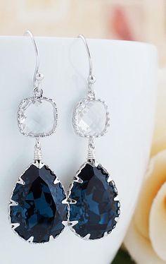Navy Blue Montana Blue Swarovski Crystal Earrings from EarringsNation Navy Weddings
