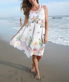 Look at this #zulilyfind! White Hand-Painted Palm Tree Dress - Plus #zulilyfinds