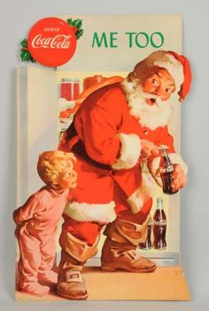 This sign has minor bumping at bottom and two pieces of tape attached near the bottom. Coke Santa, Coca Cola Santa, Coca Cola Christmas, Coca Cola Ad, Christmas Ad, Pepsi, Vintage Christmas, Holiday, Vintage Posters