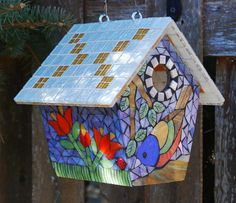Birdhouse Stained Glass Mosaic Painted Bunting by NatureUnderGlass Mosaic Birdbath, Mosaic Pots, Mosaic Birds, Mosaic Glass, Mosaic Crafts, Mosaic Projects, Painted Bunting, Mosaic Designs, Stained Glass Art