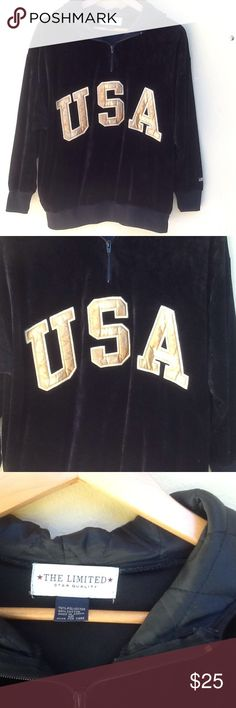 USA hoodie by The Limited Cozy velour hoodie buy The limited. Two front pockets. Quilted lining in hood. Gold USA letters on front. The Limited Tops Sweatshirts & Hoodies