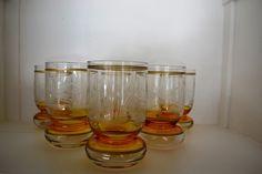 6 bicchieri vetro intarsiato bicolore anni '60