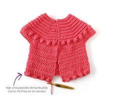 Crochet Jacket Bubbles pour fille [Tutorial and Pattern FREE] Crochet Girls, Crochet Baby, Knit Crochet, Gilet Crochet, Crochet Jacket, Crochet Stitches Chart, Crochet Patterns, Vestidos Bebe Crochet, Mode Poster