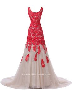 A-line Scoop  Lace Sleeveless Floor-length Tulle  Prom Dresses / Evening Dresses