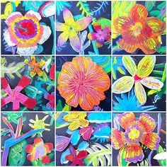 Some close ups of these gorgeous tropical flowers made by #3rdgrade. #tropicalflower #arteducation #artteacher #stilllife
