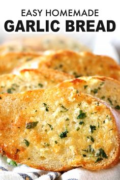 Oct 2019 - Easy Homemade Garlic Bread is crunchy, buttery, and smeared with the perfect amount of garlic flavor! How to make Garlic Bread Spread and the secret to. Garlic Bread Spread, Make Garlic Bread, Homemade Garlic Bread, Garlic Bread Recipes, Healthy Garlic Bread, Homemade French Bread, Garlic Spread Recipe Easy, Simple Garlic Bread Recipe, Baking Garlic Bread