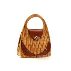 Vintage 1950's Suburbia Made in Italy  Large Light Brown Basket Wicker + Leather Woven Handbag Purse Bag