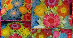 Still trying to decide on the fill ins for the jacket.thought l have decided but Kate (The Garden Bell) has used a smaller flower and l t. Flower Patterns, Crochet Patterns, Flower Granny Square, World Crafts, Small Flowers, Flower Beds, Free Pattern, Projects To Try, Quilts