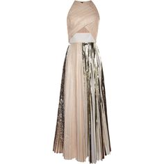 Proenza Schouler Platinum Foil Print Pleated Cloque Sleeveless Pleated... ($2,950) ❤ liked on Polyvore