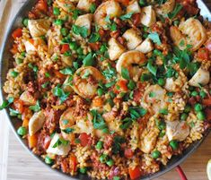 Traditional Paella with Chicken, Shrimp, and Chorizo