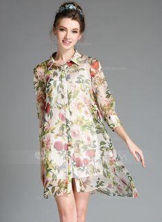 Above Knee Shirt collar Chiffon 100%Polyester Print 3/4 Sleeves Fashion Dresses
