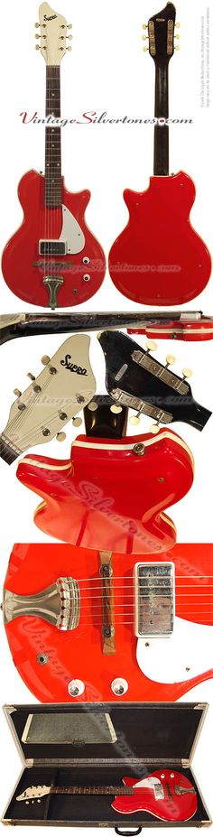 Supro Sahara model S470, red, reso-glas, semi-hollow body, electric guitar made by Supro/National/Valco of Chicago, IL in 1963